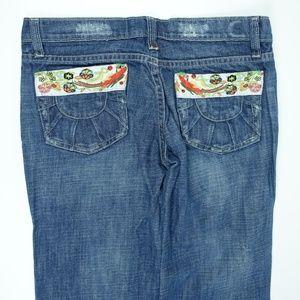 Floral Embroidered Denim Boho Distressed Jeans
